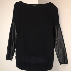 Nasty Gal Leather Sleeved Sweater